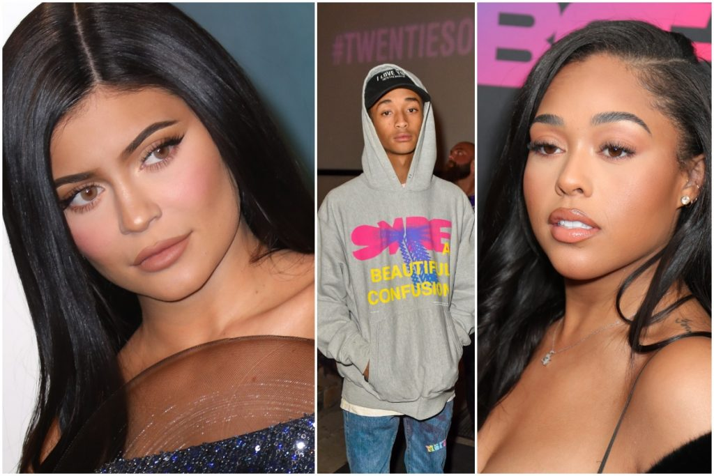 """Kylie Jenner attends the 2020 Vanity Fair Oscar Party at Wallis Annenberg Center for the Performing Arts on February 09, 2020 in Beverly Hills, California./Actor / Rapper Jaden Smith attends the """"BET Twenties"""" produced by Lena Waithe Screening during the Sundance Film Festival on January 27, 2020 at Park City Live in Park City, Utah. /Jordyn Woods attends BET+ And Footage Film's """"Sacrifice"""" Premiere Event at Landmark Theatre on December 11, 2019 in Los Angeles, California."""