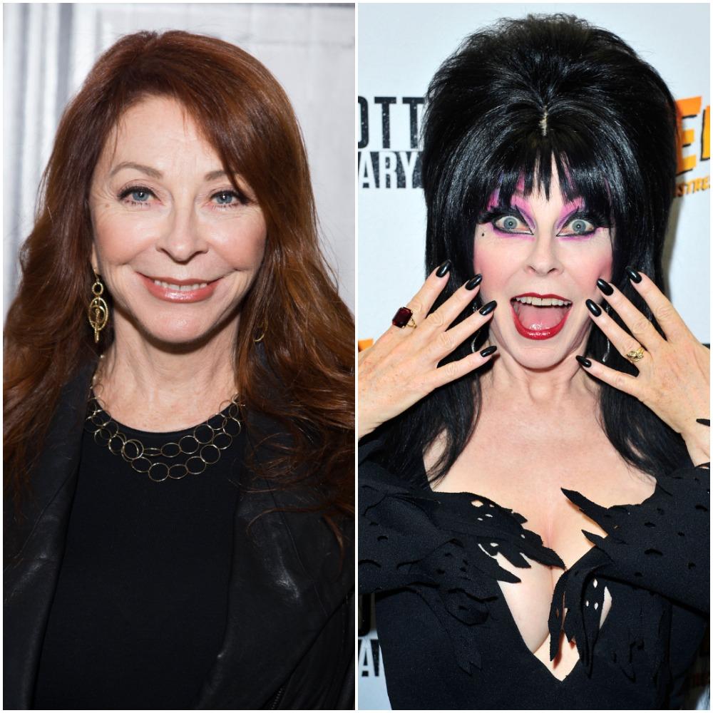 (L) Cassandra Peterson, (R) Peterson as Elvira