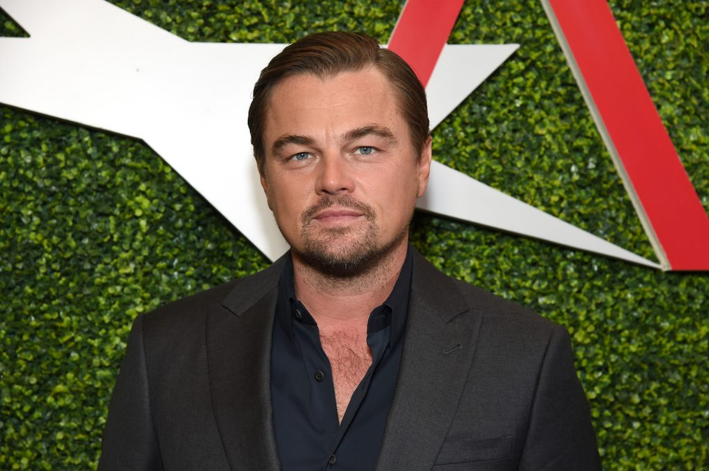 Leonardo DiCaprio slightly smiling in front of a green background