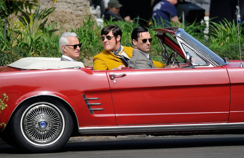 John Slattery, Rich Sommer and Jon Hamm are seen filming 'Mad Men' on March 05, 2013