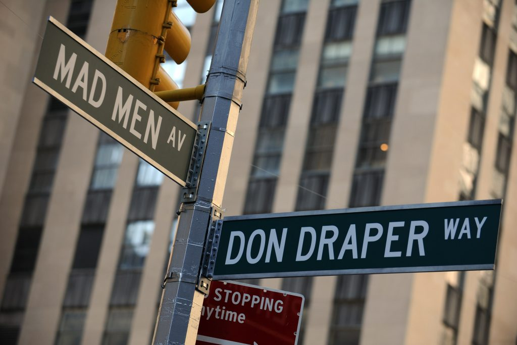 """Street signs at the """"Mad Men"""" art installation unveiling in New York City"""