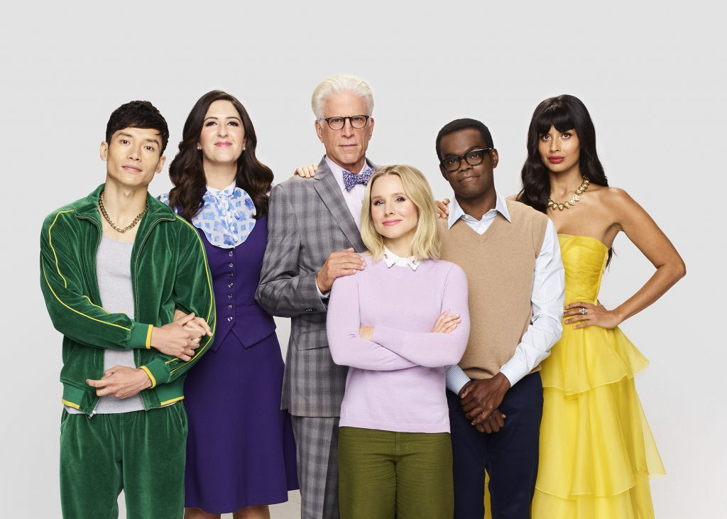 Manny Jacinto, D'Arcy Carden, Ted Danson, Kristen Bell, William Jackson Harper, D'Arcy Carden, and Jameela Jamil of 'The Good Place'