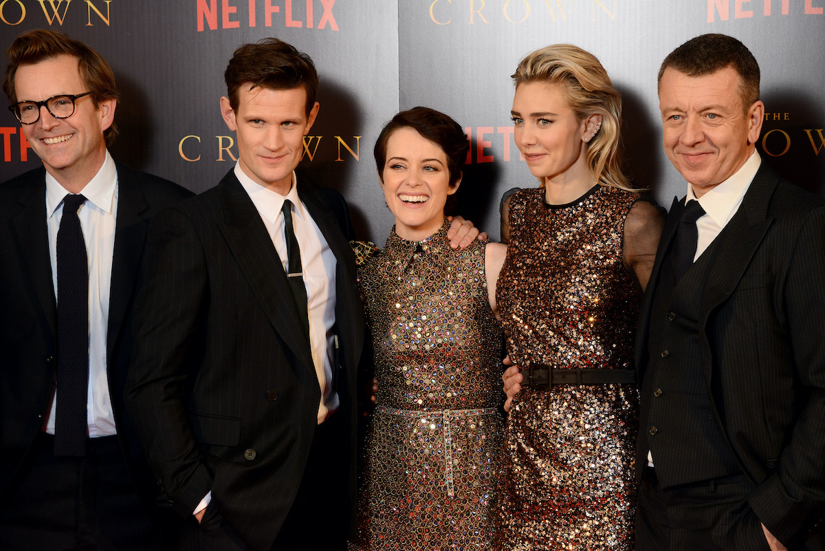 Phillip Martin, Matt Smith, Claire Foy, Vanessa Kirby, and Peter Morgan attend the premiere of 'The Crown' Season 2