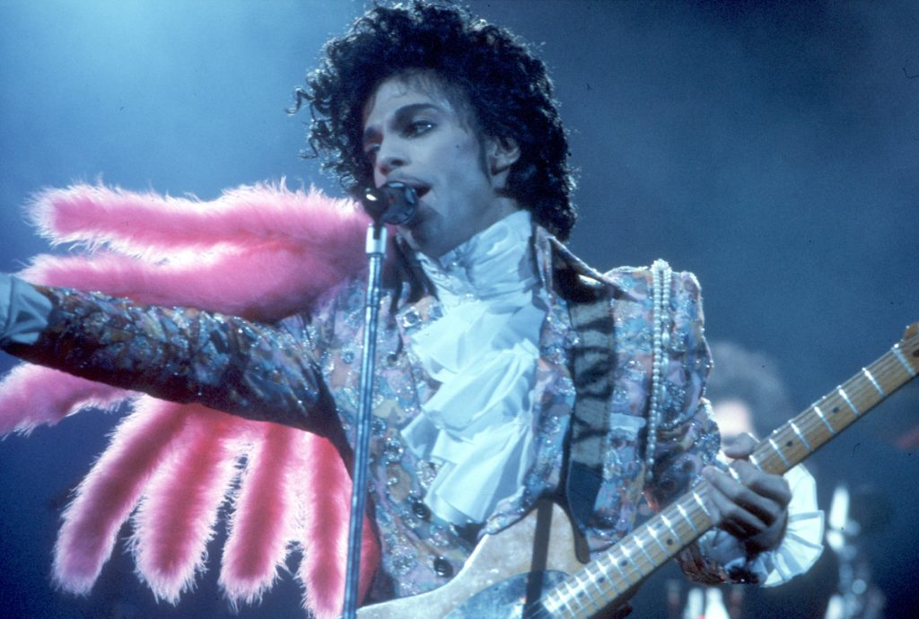 Prince performs live at the Fabulous Forum on February 19, 1985 in Inglewood, California