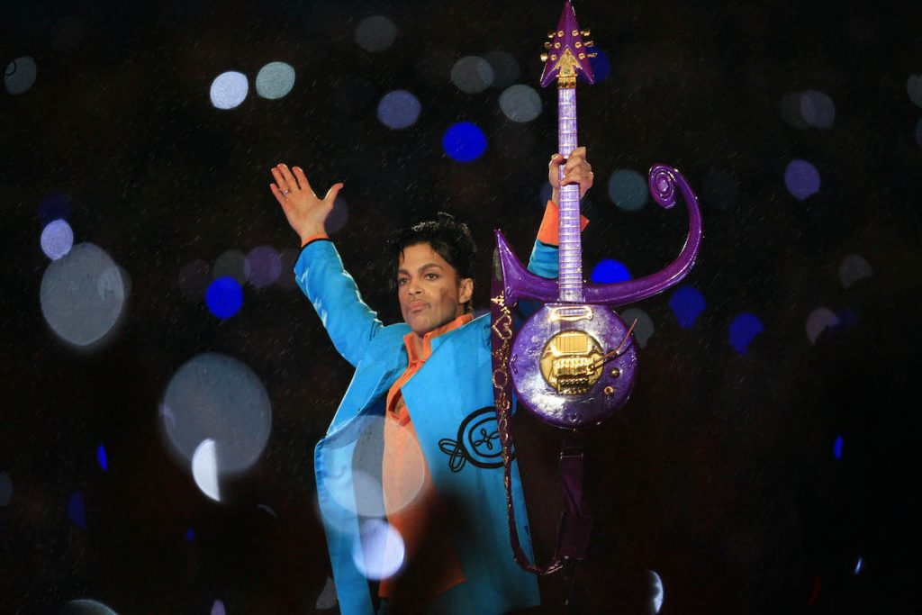 Prince performs during the Pepsi Halftime Show at Super Bowl XLI on February 4, 2007 at Dolphin Stadium in Miami Gardens, Florida