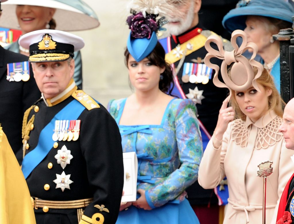 Prince Andrew, Princess Beatrice, and Princess Eugenie