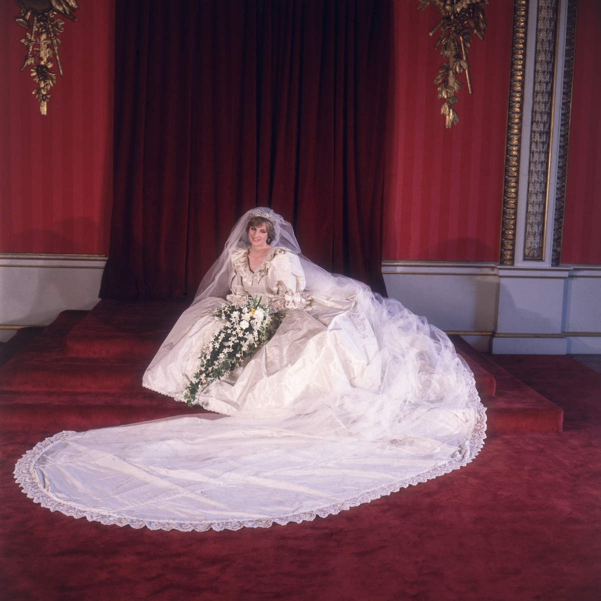 Princess Diana poses for an official portrait after her royal wedding