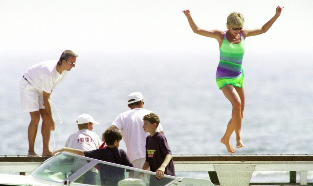 Diana, Princess Of Wales is seen in St Tropez in the summer of 1997, shortly before Diana and boyfriend Dodi were killed in a car crash in Paris on August 31, 1997. The inquests into both of their deaths are due to start in early 2004