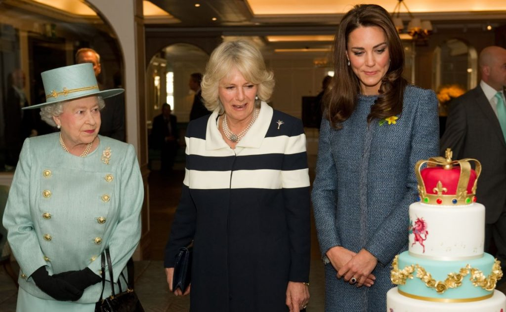 Queen Elizabeth II, Camilla, Duchess of Cornwall, and Catherine, Duchess of Cambridge