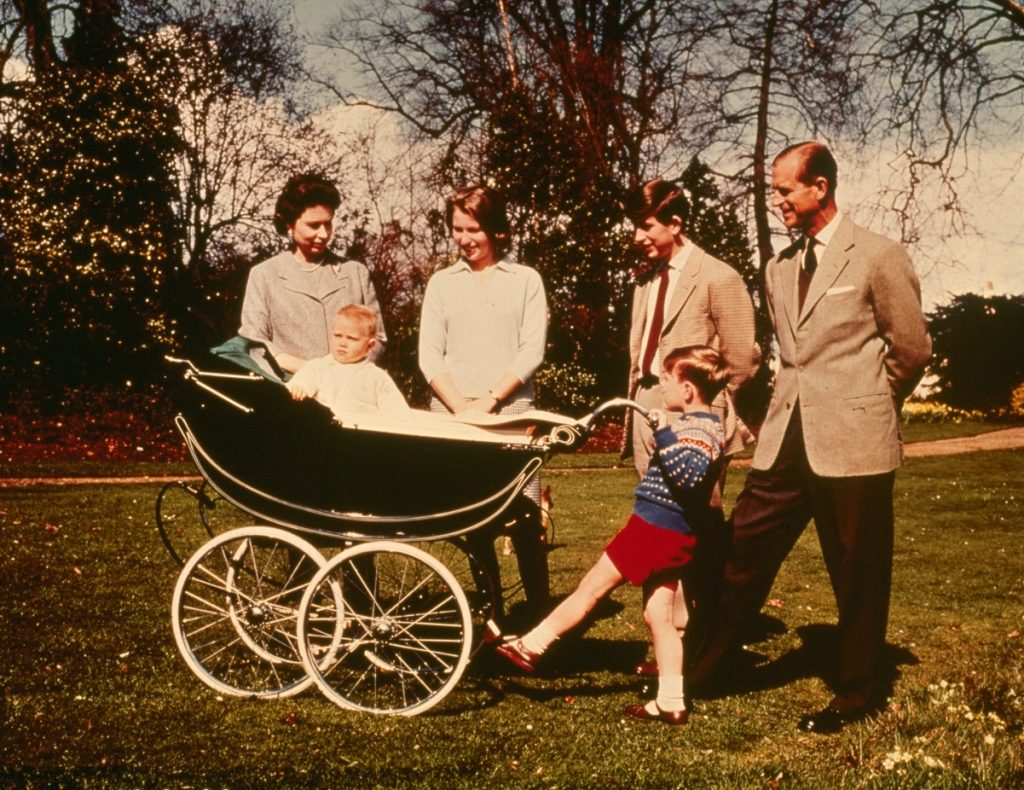 Queen Elizabeth II  and Prince Philip with their children  Prince Charles, Prince Andrew, Prince Edward, and Princess Anne