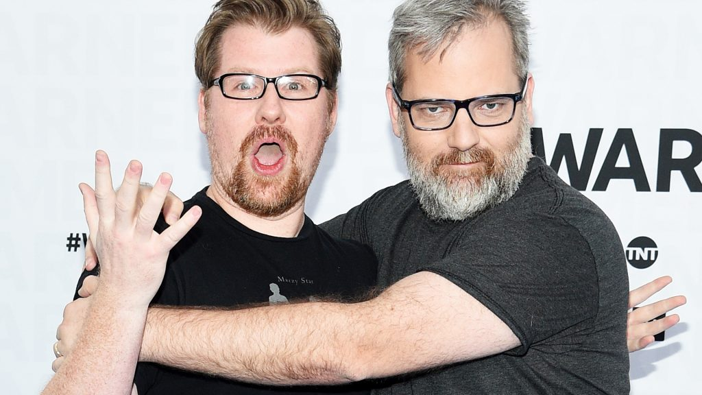 Justin Roiland and Dan Harmon of Adult Swim's Rick and Morty attend the WarnerMedia Upfront 2019 arrivals on the red carpet at The Theater at Madison Square Garden on May 15, 2019 in New York City.