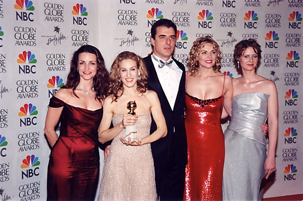Kristin Davis, Sarah Jessica Parker, Chris Noth, Kim Cattrall and Cynthia Nixon appear at the Golden Globes in 2000