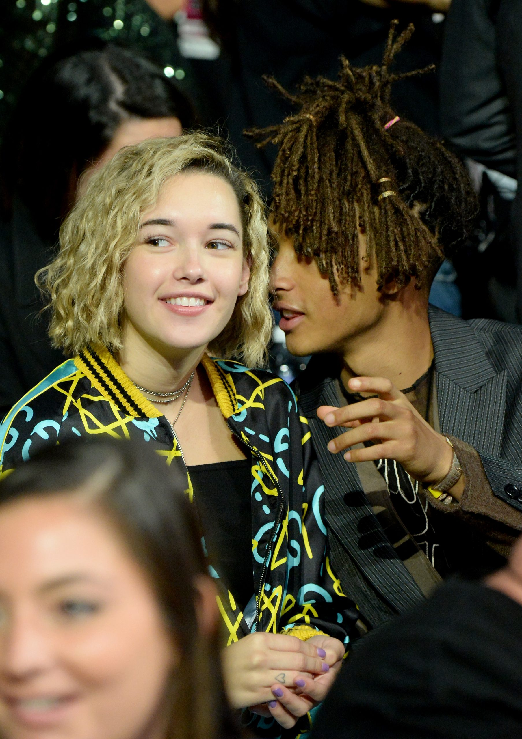 Actor Jaden Smith (R) and Sarah Snyder attend the 2016 MTV Video Music Awards at Madison Square Garden on August 28, 2016 in New York City.
