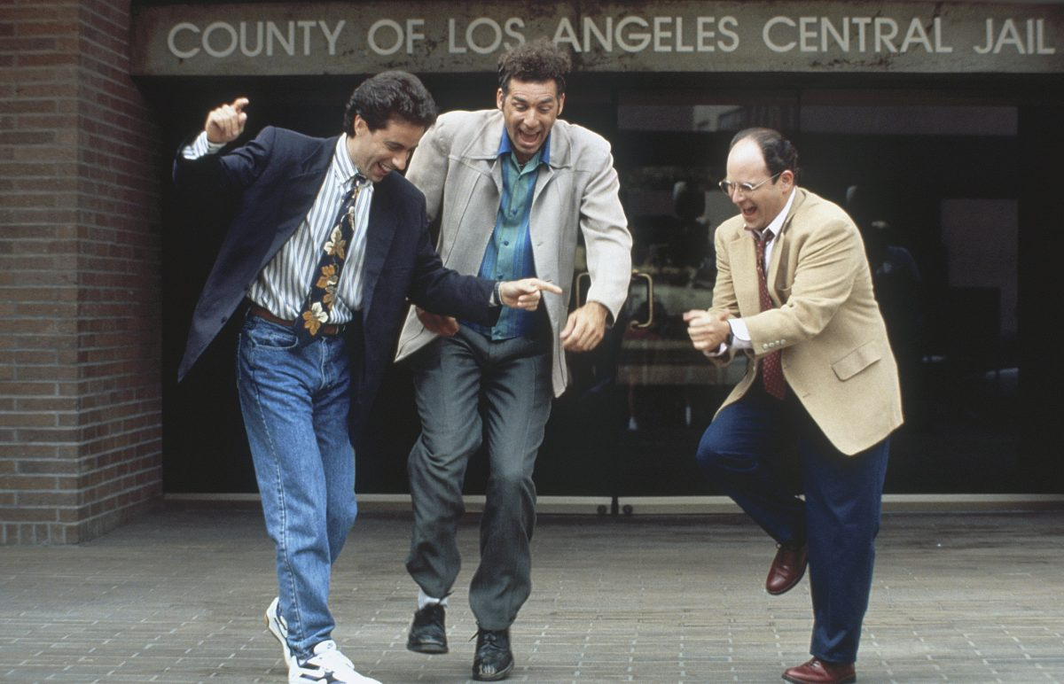 Jerry Seinfeld as Jerry Seinfeld, Michael Richards as Cosmo Kramer and Jason Alexander as George Costanza
