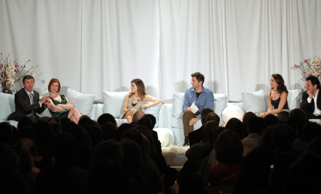 Michael Patrick King, Cynthia Nixon, Sarah Jessica Parker, Kristin Davis and Darren Star sit with moderator Dan Sneirson for a behind the scenes look at 'Sex and the City'