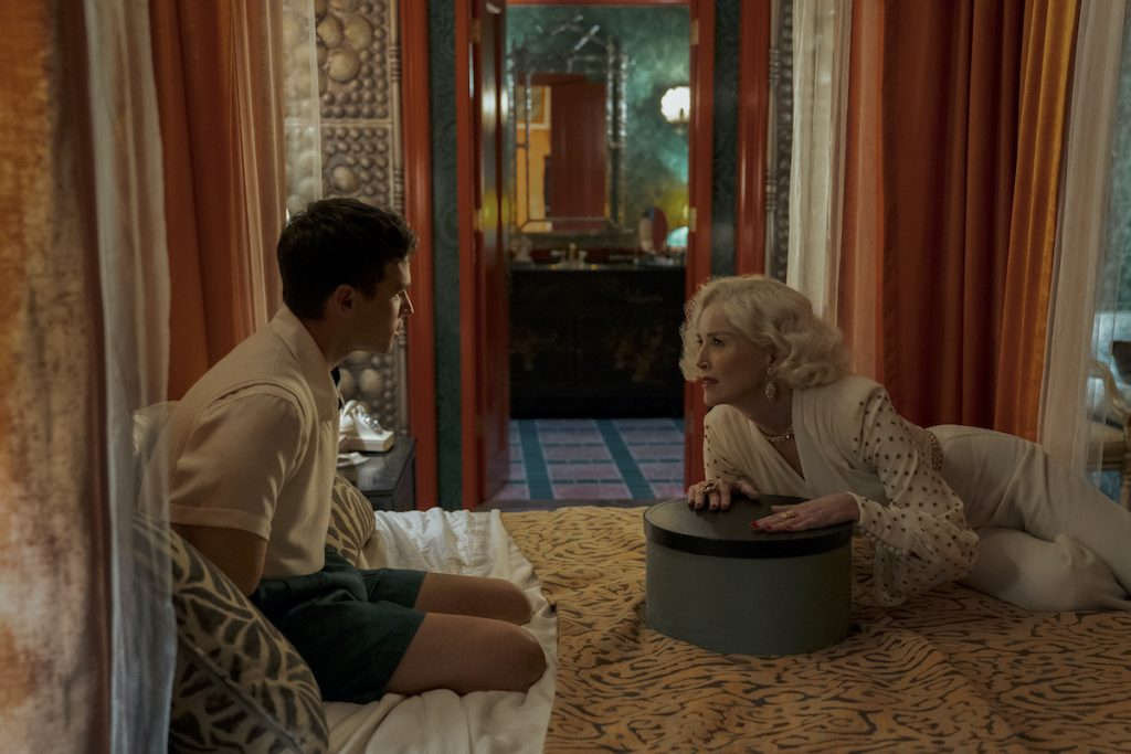 "Brandon Flynn as Henry Osgood and Sharon Stone as Lenore Osgood in Netflix's ""Ratched"""