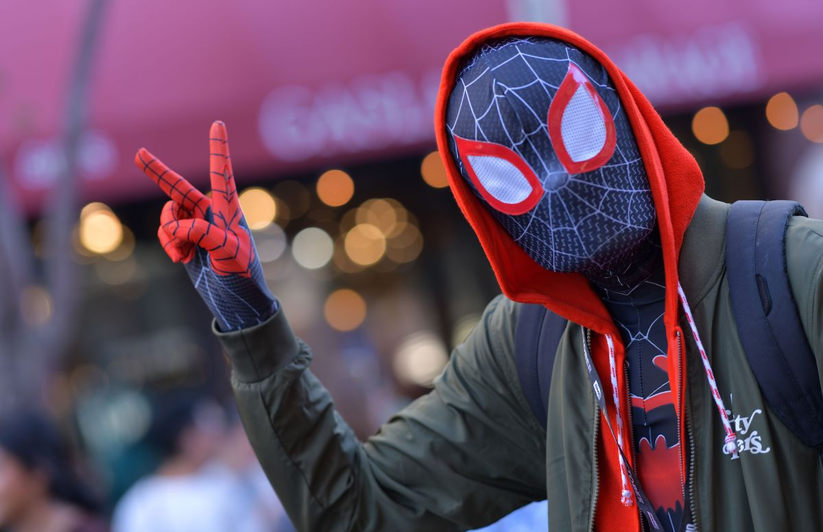 Cosplayer dressed as Spiderman