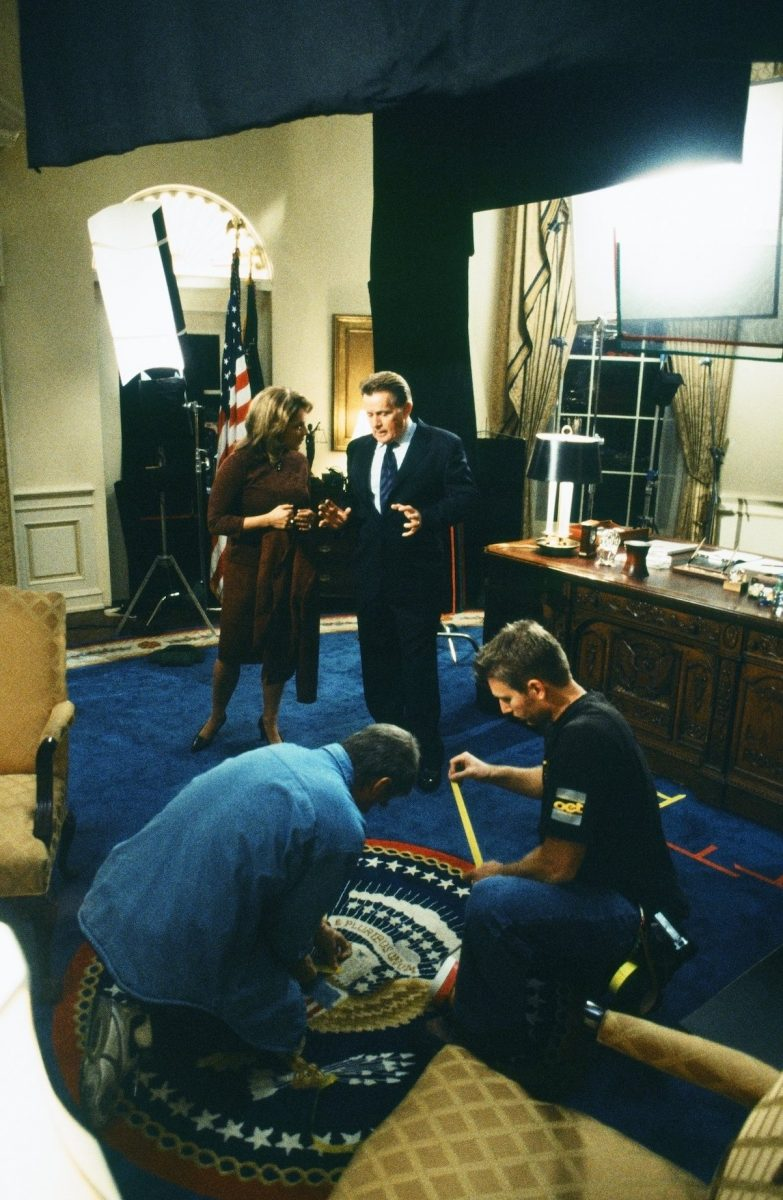 Stockard Channing and Martin Sheen on the set of 'The West Wing'