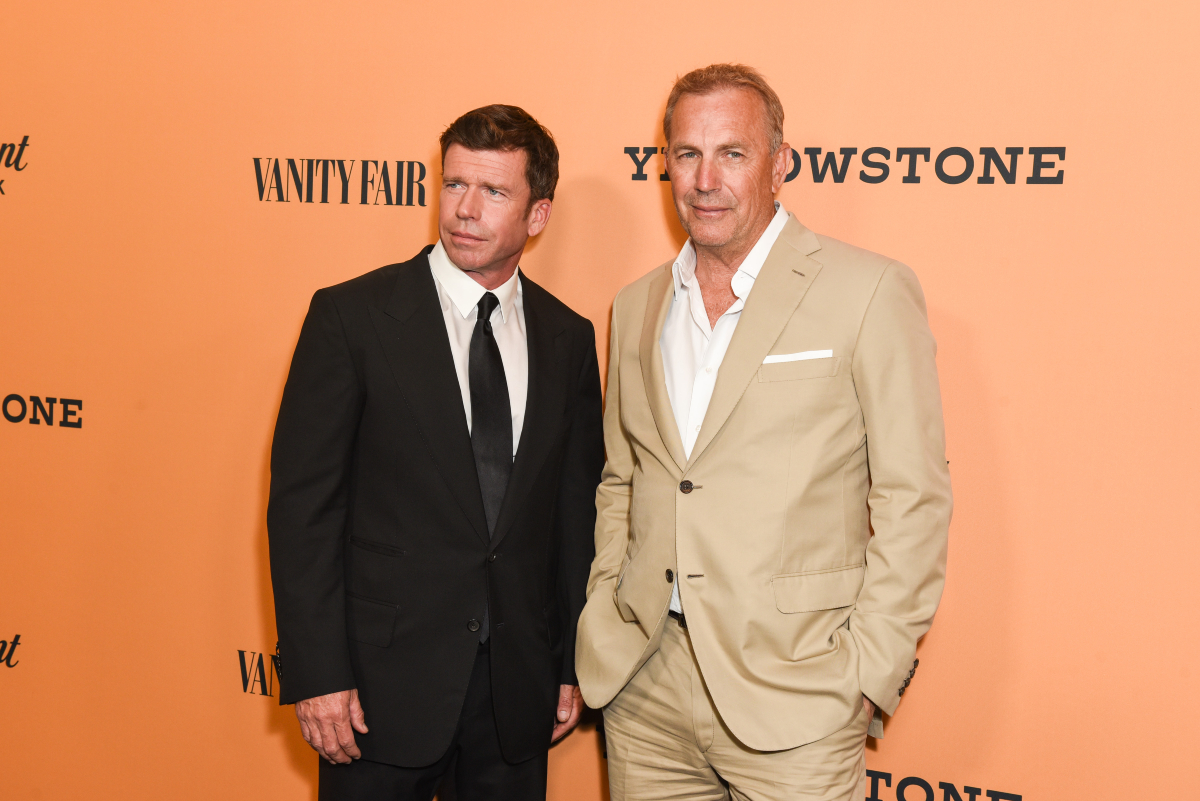 """Taylor Sheridan and Kevin Costner attend the premiere of Paramount Pictures' """"Yellowstone"""" at Paramount Studios on June 11, 2018 in Hollywood, California"""