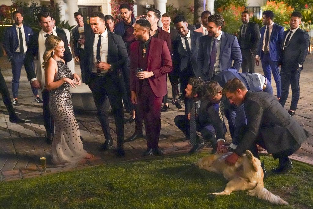 'The Bachelorette' lead Clare Crawley with her contestants on night one