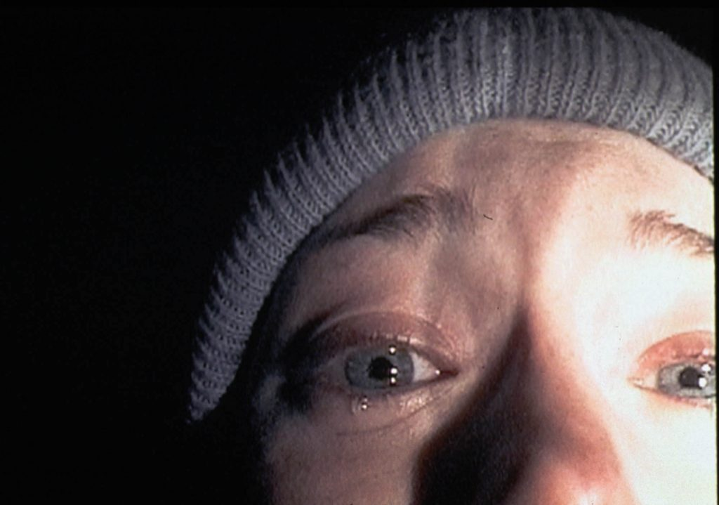 Heather Donahue close up and crying in 'The Blair Witch Project'