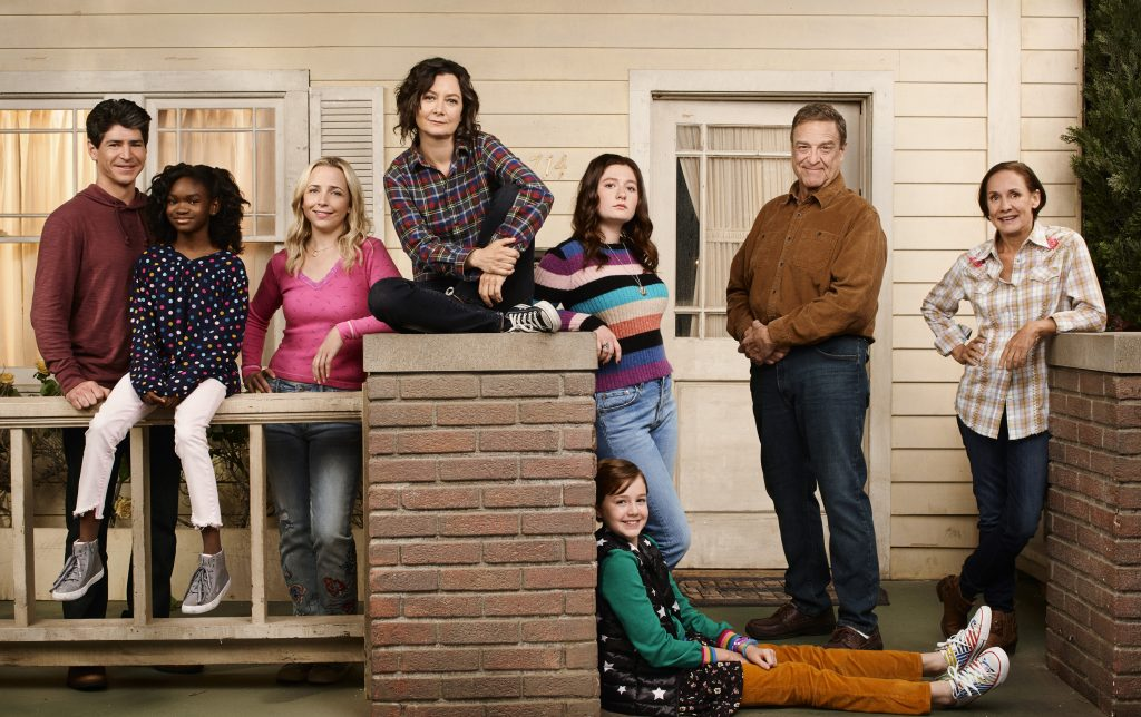 Michael Fishman as D.J. Conner, Jayden Rey as Mary Conner, Lecy Goranson as Becky Conner-Healy, Sara Gilbert as Darlene Conner, Emma Kenney as Harris Conner-Healy, Ames McNamara as Mark Conner-Healy, John Goodman as Dan Conner, and Laurie Metcalf as Jackie Harris.