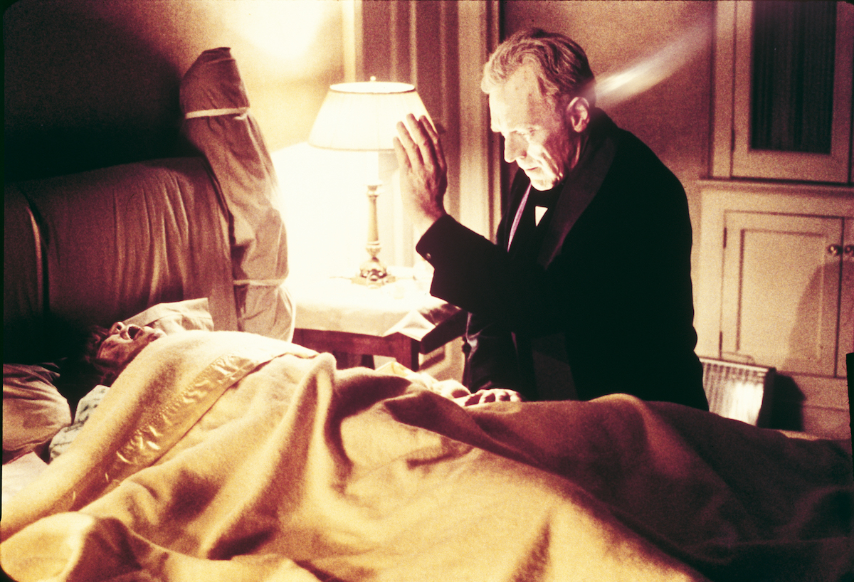 Max von Sydow blessing American actress Linda Blair in The Exorcist