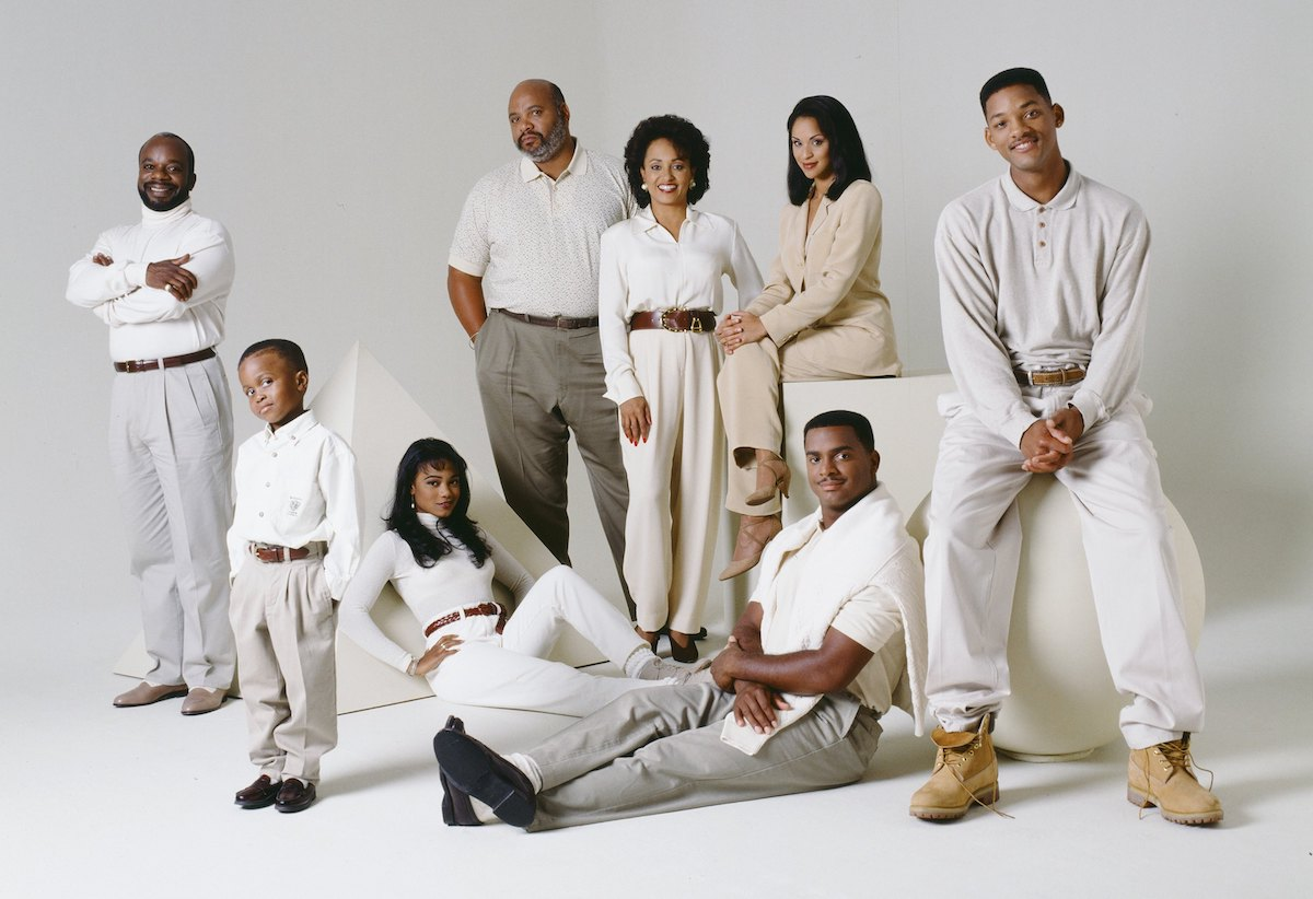 Joseph Marcell as Geoffrey, James Avery as Philip Banks, Daphne Reid as Vivian Banks, Karyn Parsons as Hilary Banks, Will Smith as William 'Will' Smith; Front: Ross Bagley as Nicky Banks, Tatyana Ali as Ashley Banks, Alfonso Ribeiro as Carlton Banks