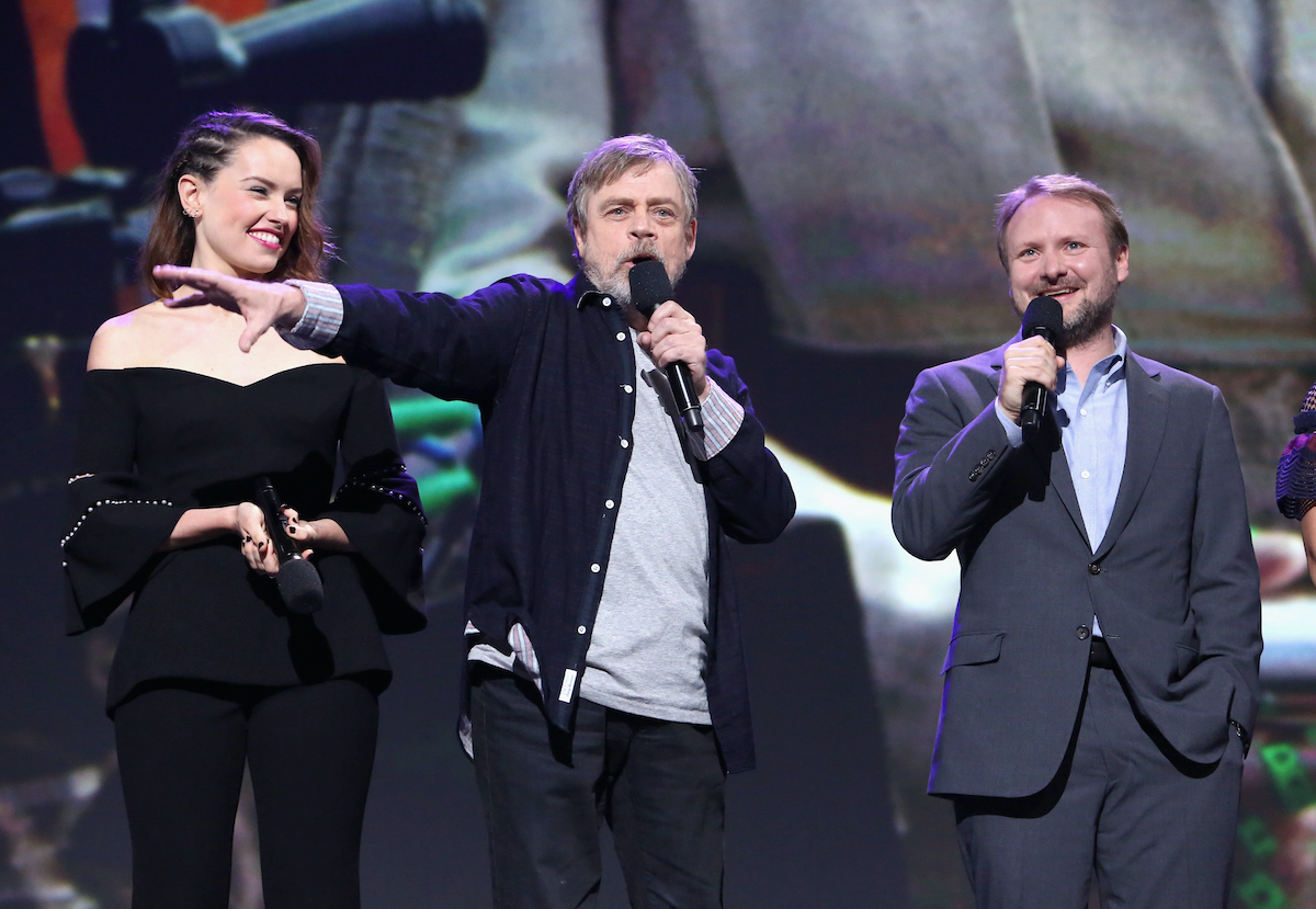Daisy Ridley, Mark Hamill, and director Rian Johnson