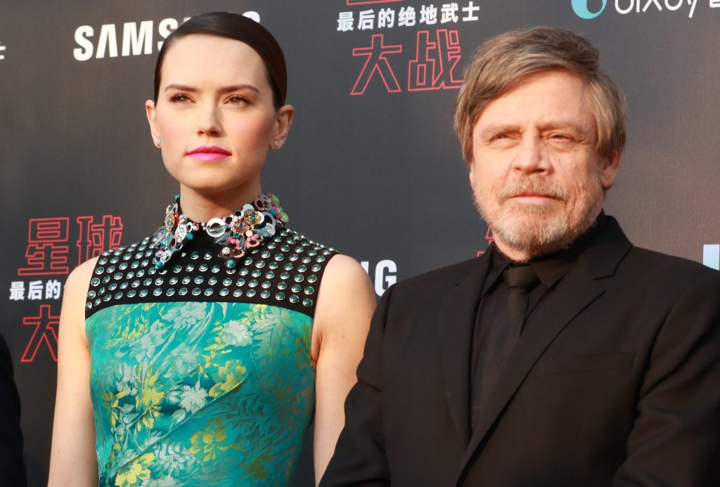 Actor Mark Hamill and actress Daisy Ridley of 'Star Wars: The Last Jedi'