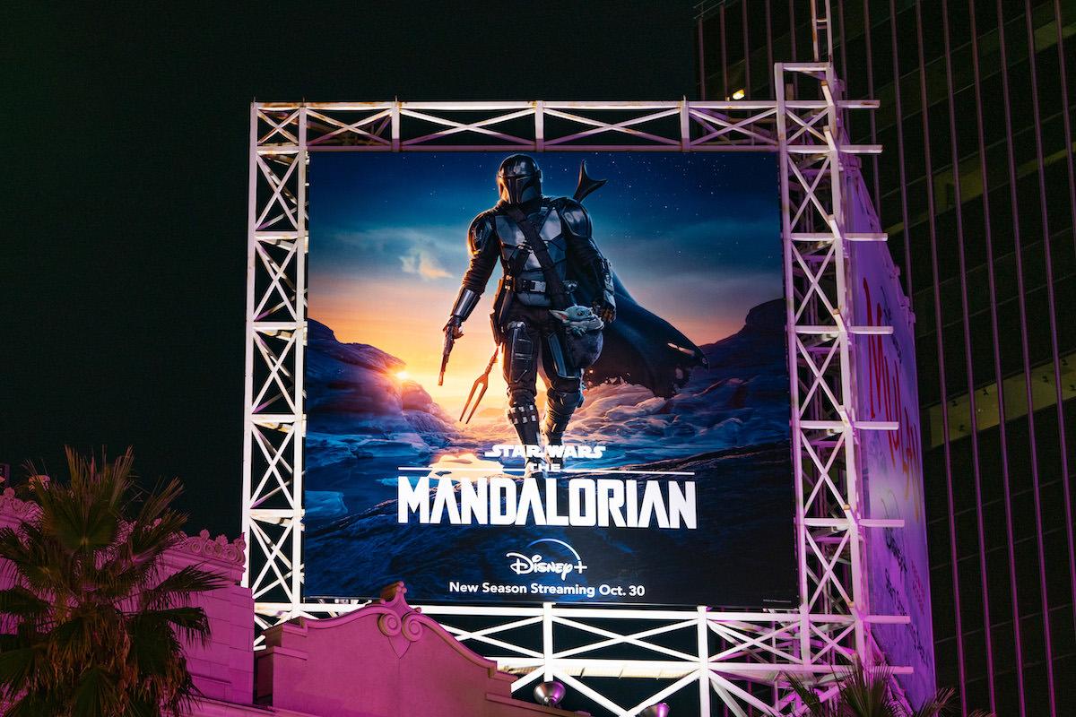 A billboard for 'The Mandalorian' Season 2