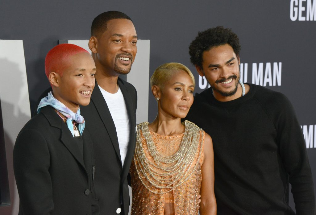 (LR) Jaden Smith, Willow Smith, Will Smith, Jada Pinkett Smith, and Trey Smith attend the premiere 'After Earth'