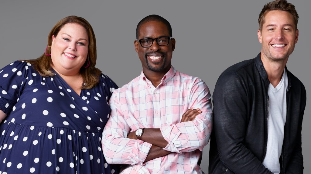 Chrissy Metz as Kate Pearson, Sterling K. Brown as Randall Pearson, Justin Hartley as Kevin Pearson on 'This Is Us'