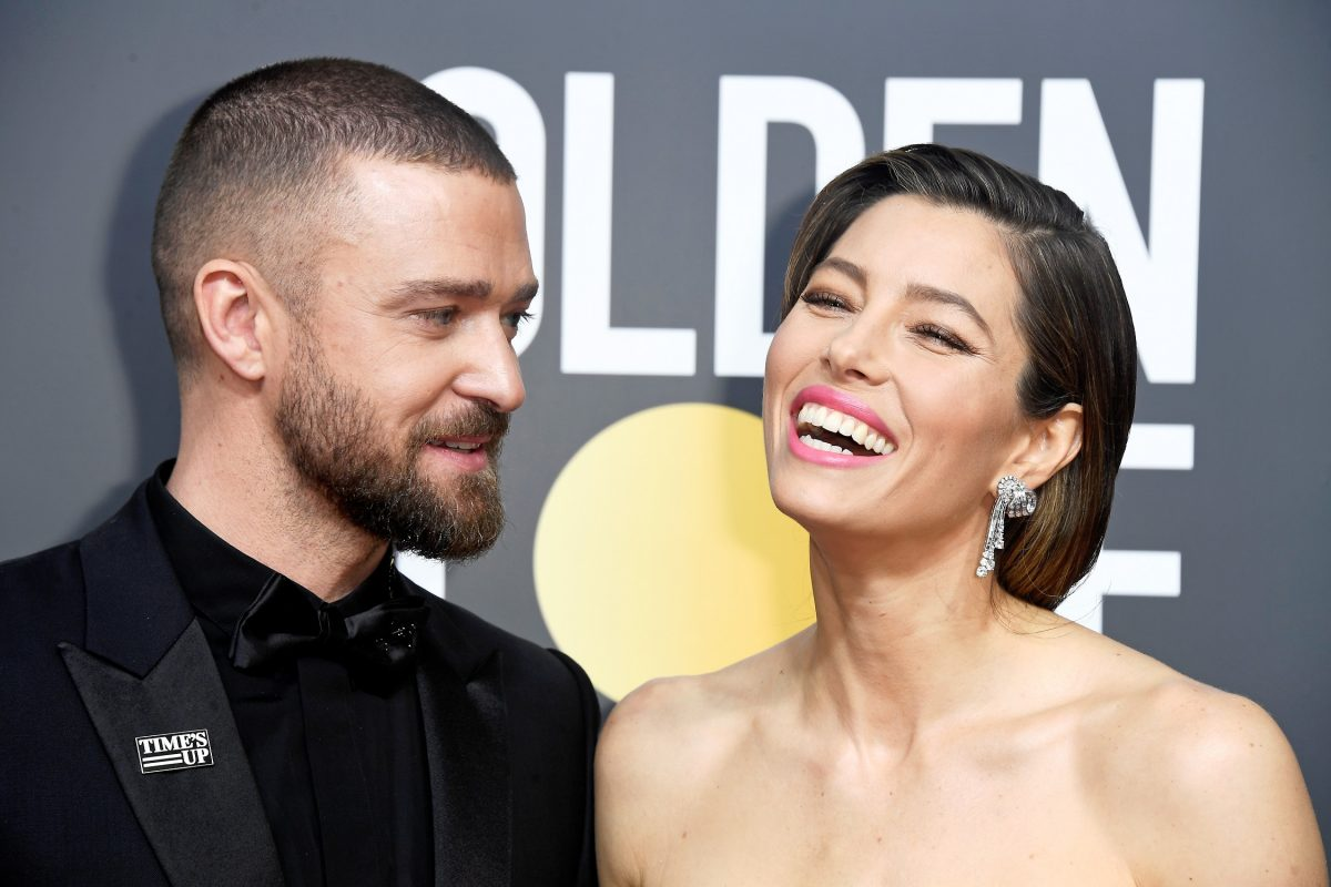 Justin Timberlake and Jessica Biel attend The 75th Annual Golden Globe Awards at The Beverly Hilton Hotel