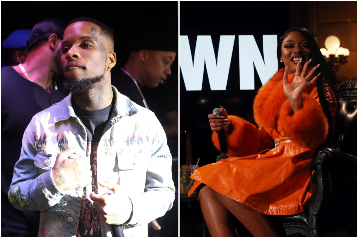 Tory Lanez performs at Cavali New York on February 22, 2020 in New York City./: Megan Thee Stallion speaks onstage at #CRWN A Conversation With Elliott Wilson And Megan Thee Stallion at Gotham Hall on March 10, 2020 in New York City. /