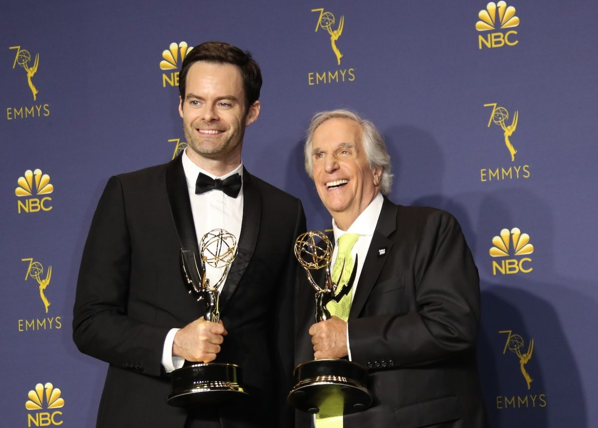 Bill Hader and Henry Winkler pose with their Outstanding Lead Actor in a Comedy Series and Outstanding Supporting Actor in a Comedy Series awards for 'Barry'