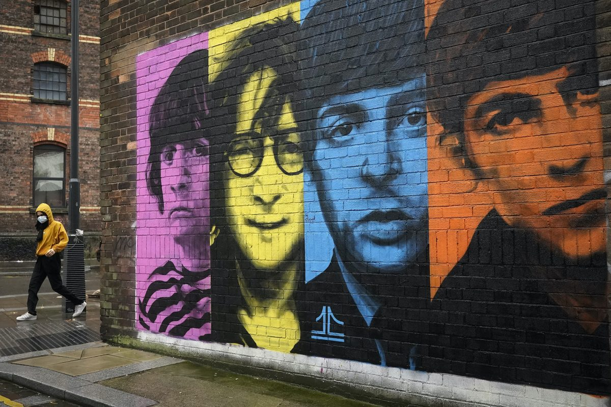 A mural of the Beatles