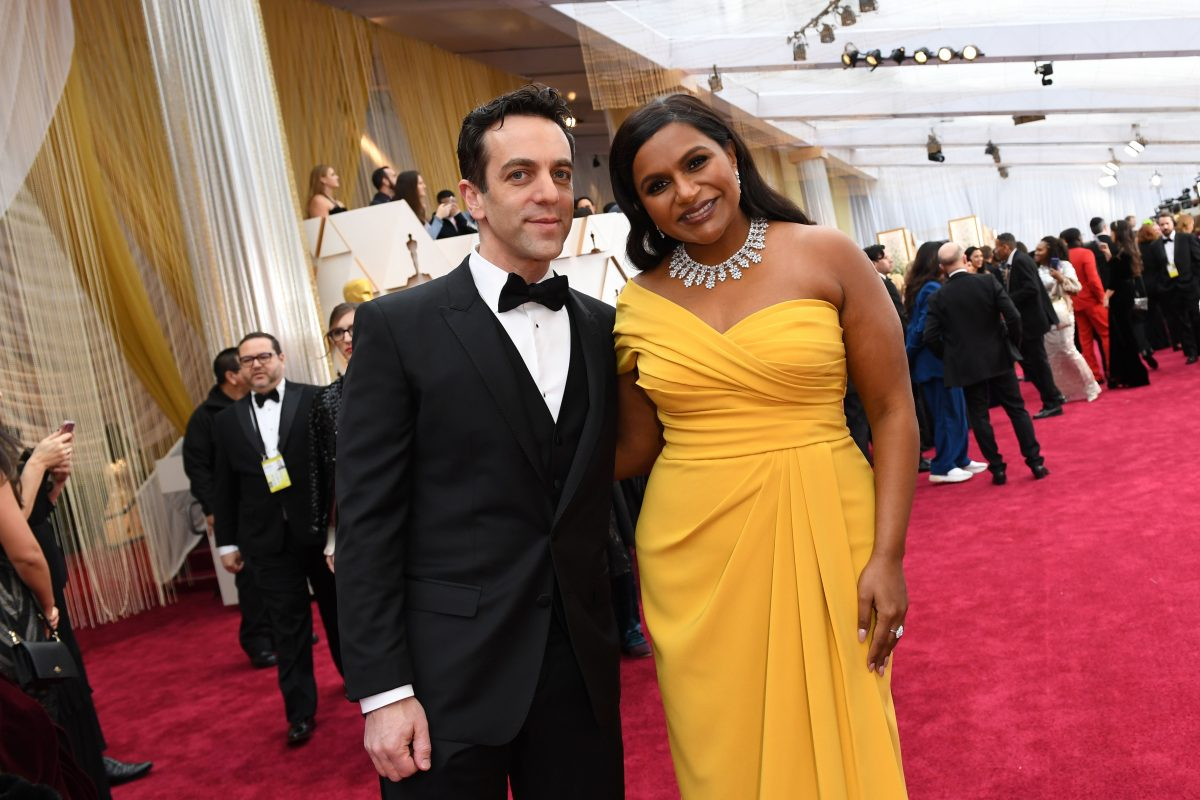 Mindy Kaling (R) and BJ Novak arrive for the 92nd Oscars on February 9, 2020.