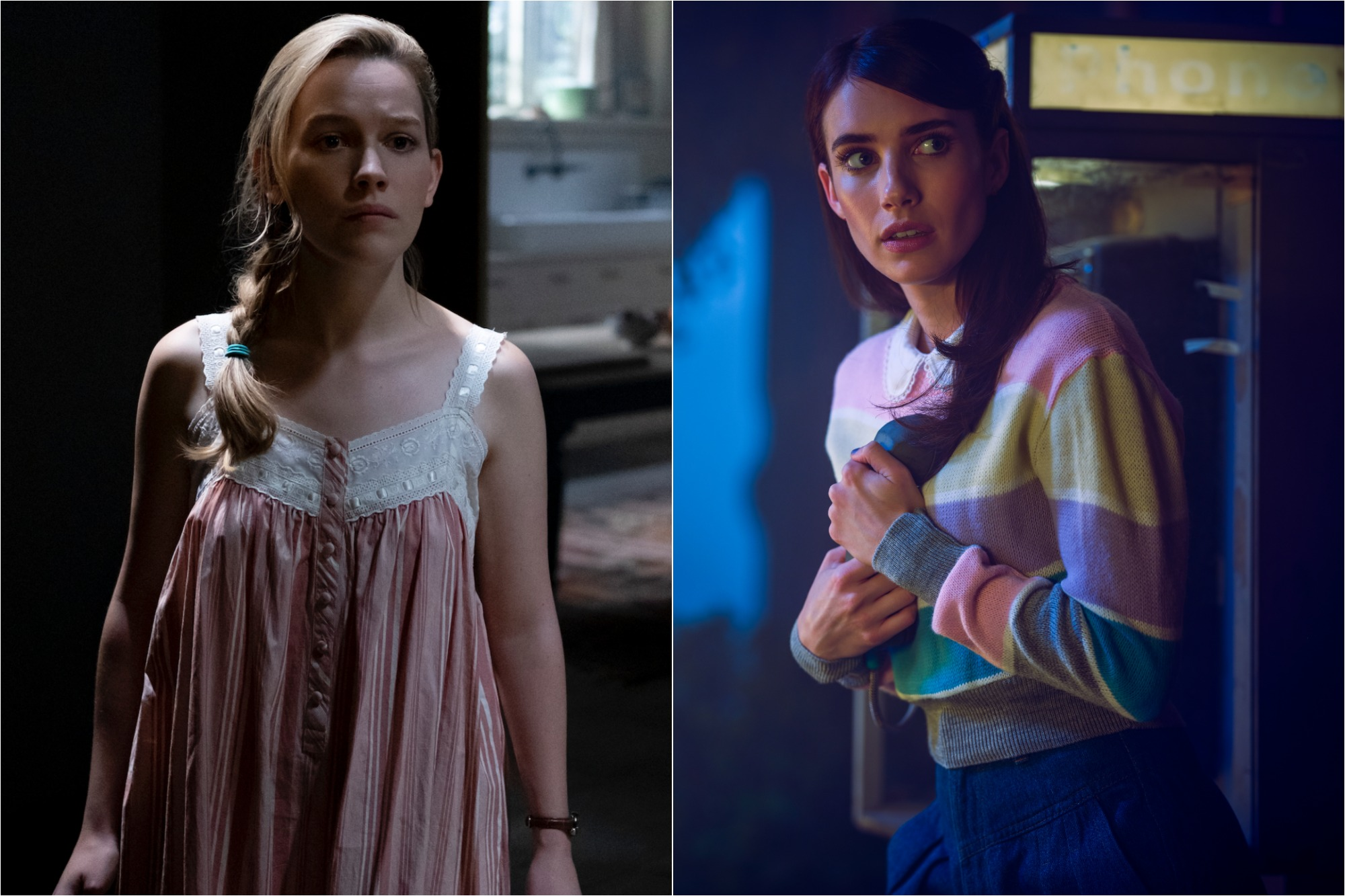 (L) Victoria Pedretti as Dani Clayton in 'THE HAUNTING OF BLY MANOR' / (R) Emma Roberts as Brooke Thompson in 'AMERICAN HORROR STORY: 1984
