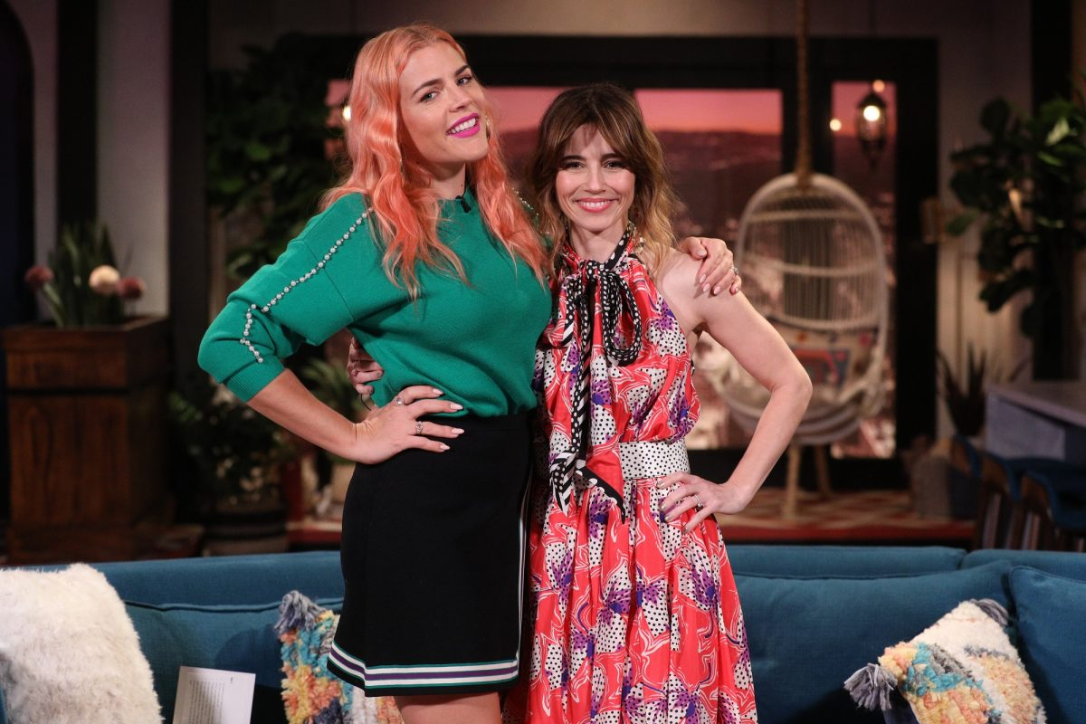 (l-r) Busy Philipps and Linda Cardellini on the set of 'Busy Tonight'