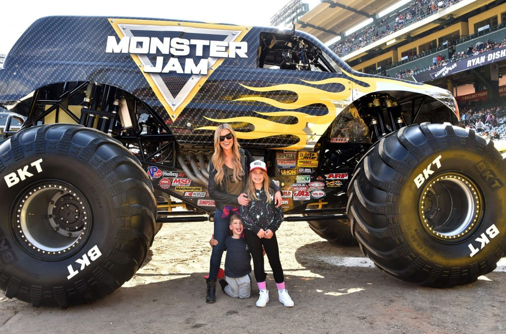 Christina Anstead and her kids with Monster Truck