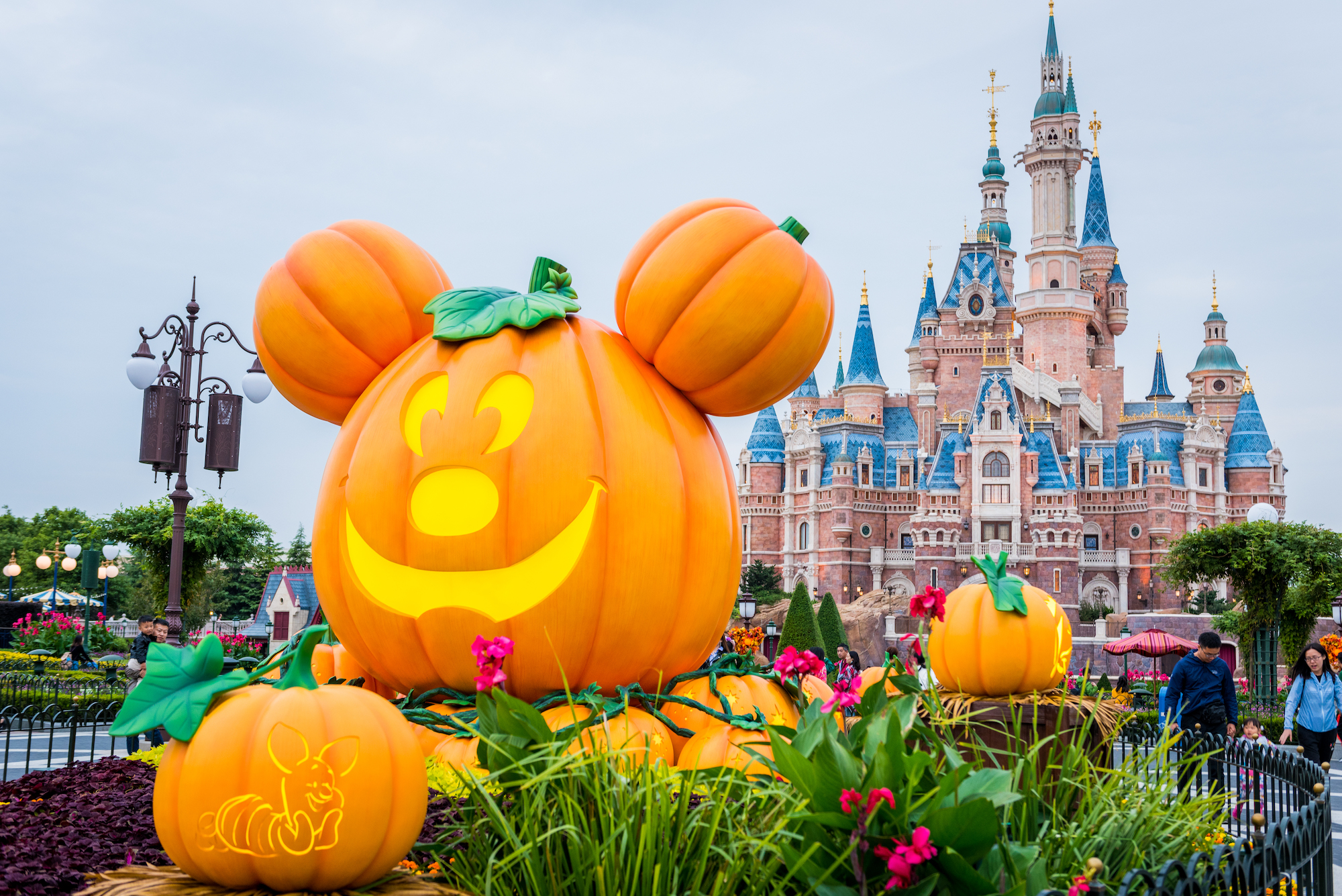 A Halloween-themed pumpkin featuring Disney's Mickey Mouse on display at Shanghai Disney Resort on October 14, 2018 in Shanghai, China.