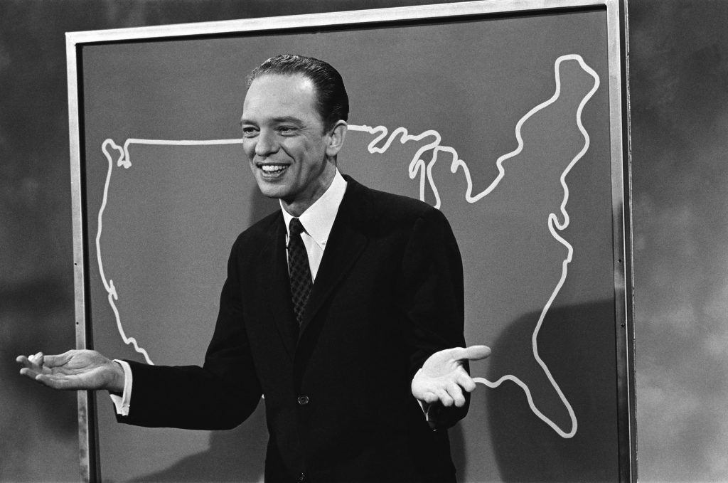 Don Knotts of The Andy Griffith Show in front of an outline of the United States