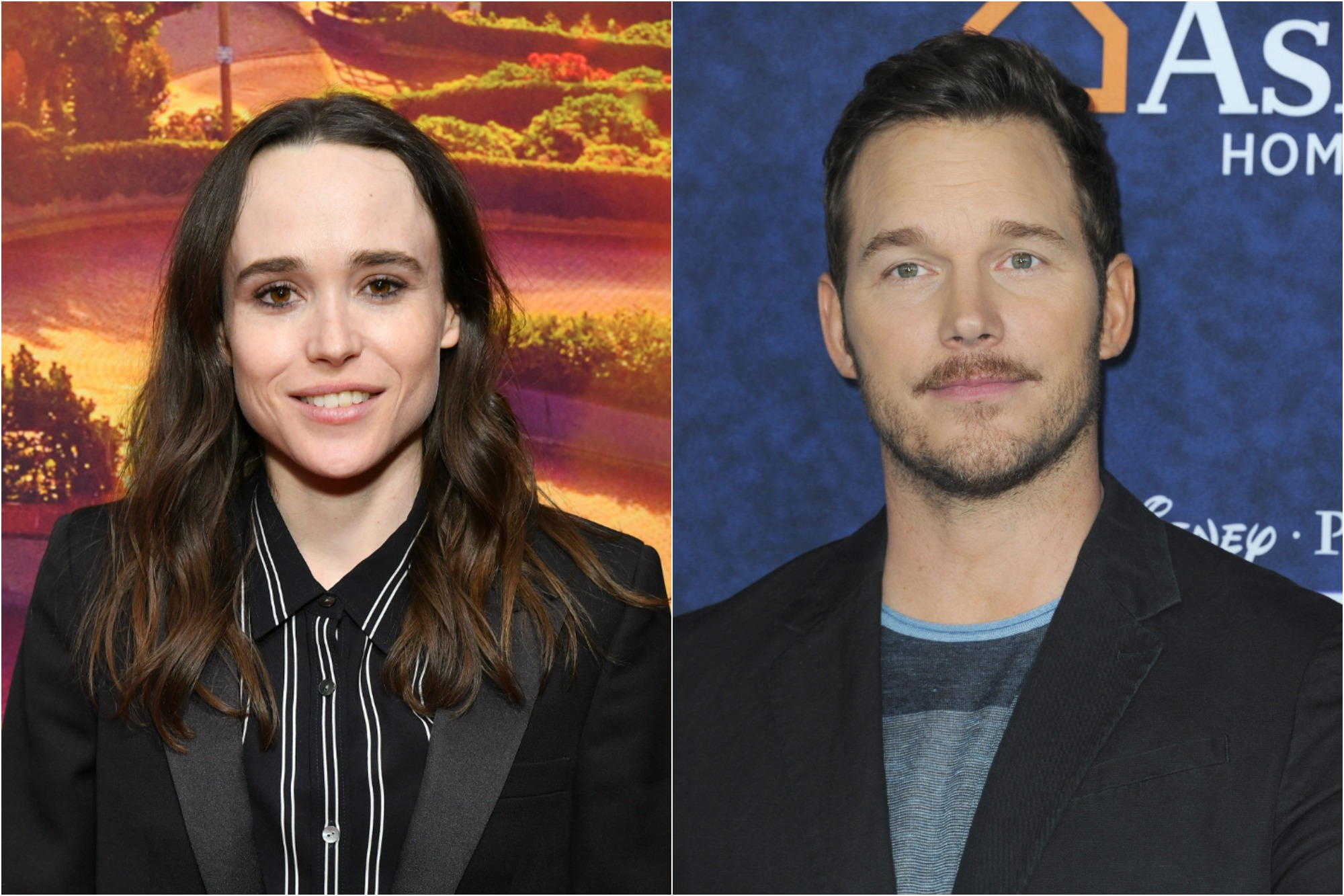 Ellen Page at the 'Tales of the City' New York premiere at The Metrograph on June 03, 2019 / Chris Pratt at the premiere of Disney And Pixar's 'Onward' at the El Capitan Theatre on February 18, 2020