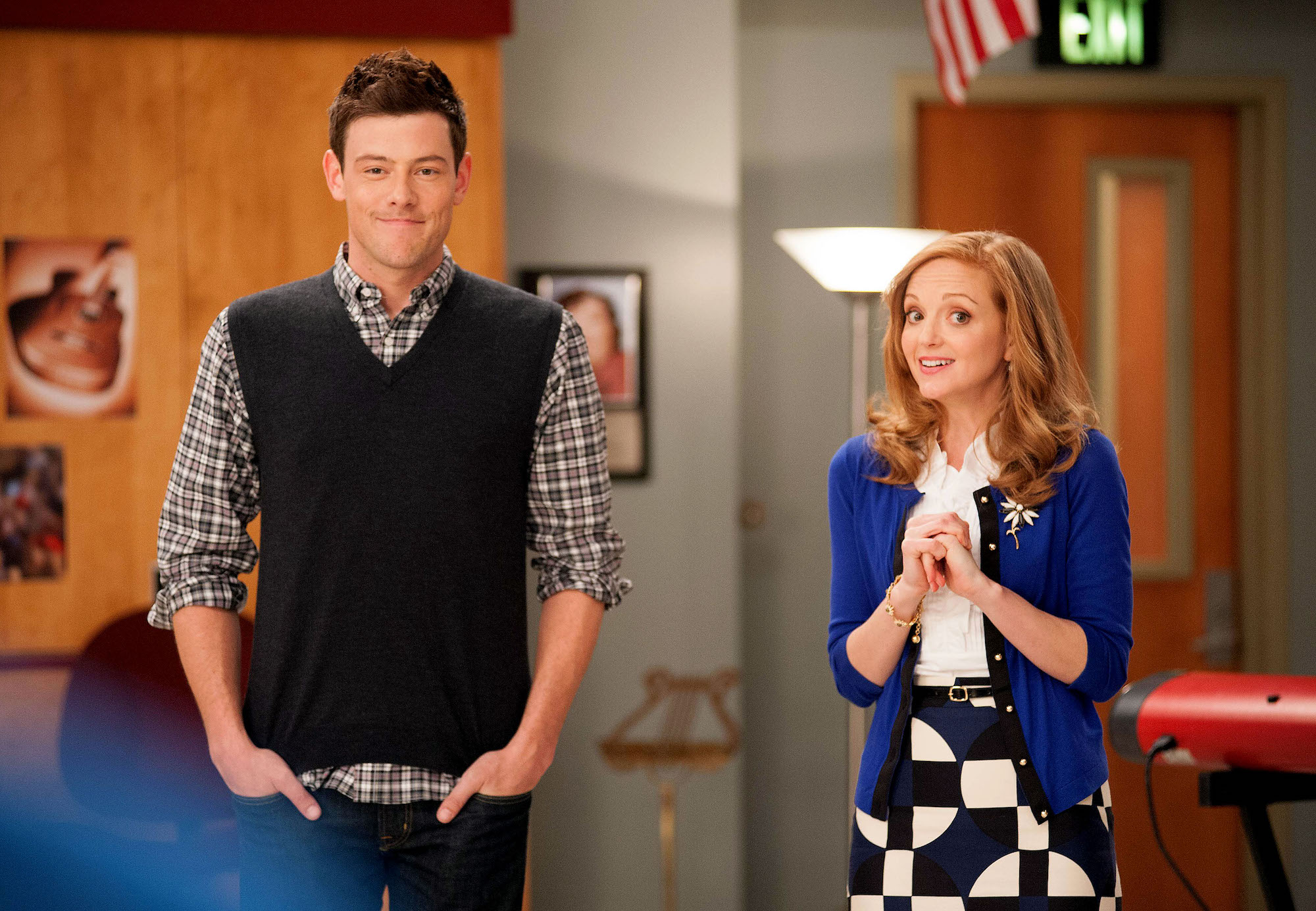 Cory Monteith as 'Finn' and Jayma Mays as 'Emma' on Season Four of 'GLEE.'