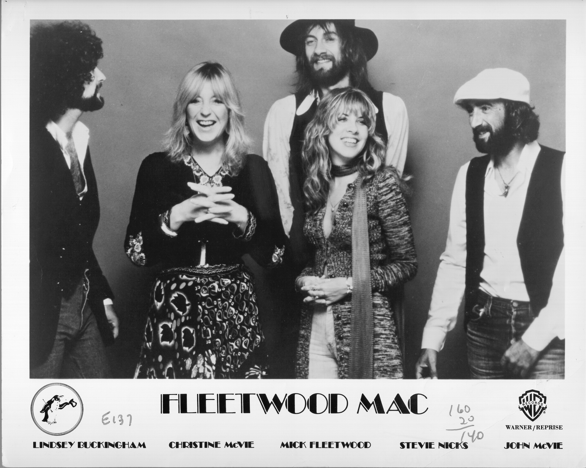 "Lindsey Buckingham, Christine McVie, Mick Fleetwood, Stevie Nicks and John McVie of the rock group ""Fleetwood Mac"" pose for a portrait in 1977."