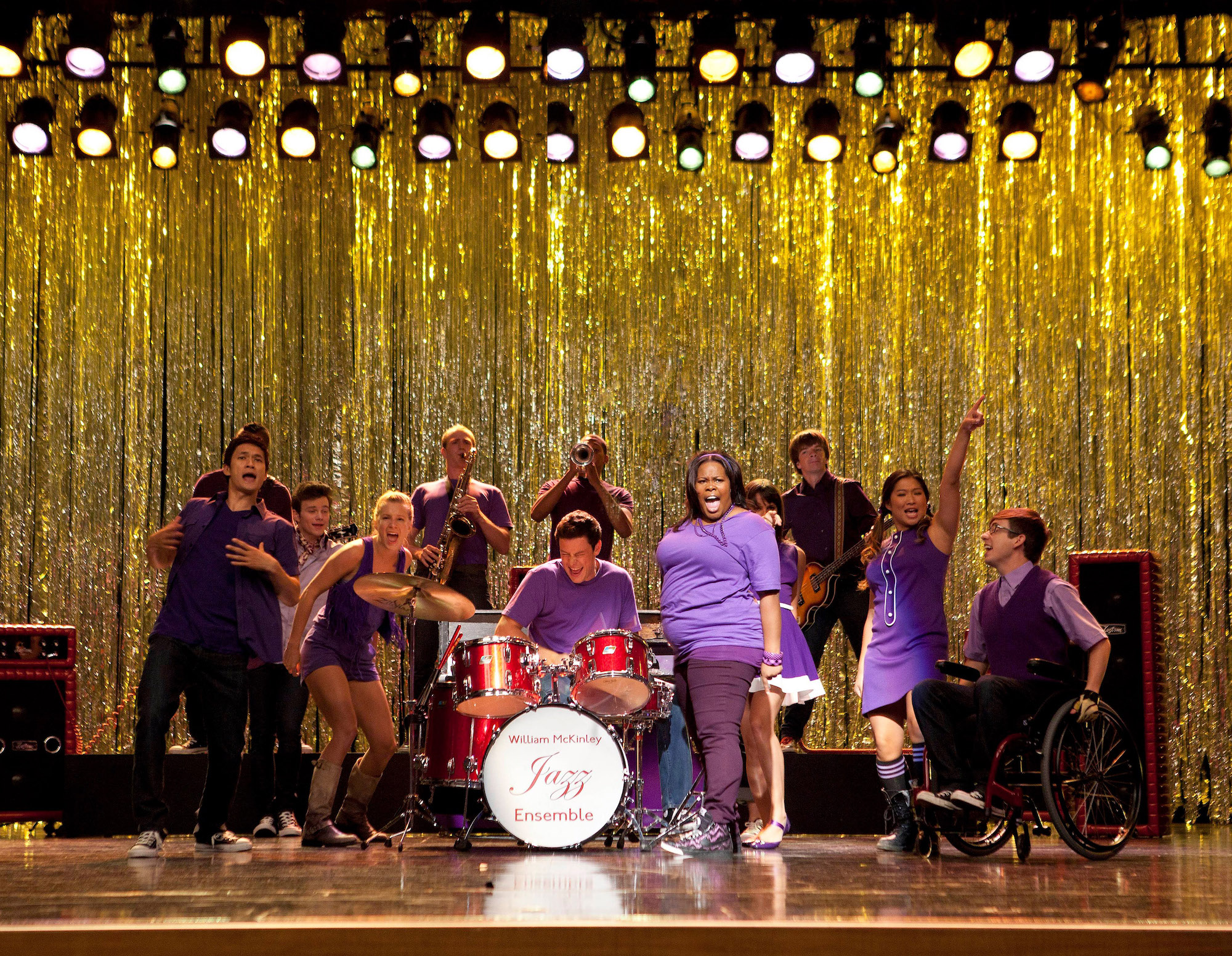 "The New Directions of 'Glee' in the Season 3 premiere episode, ""The Purple Piano Project"""