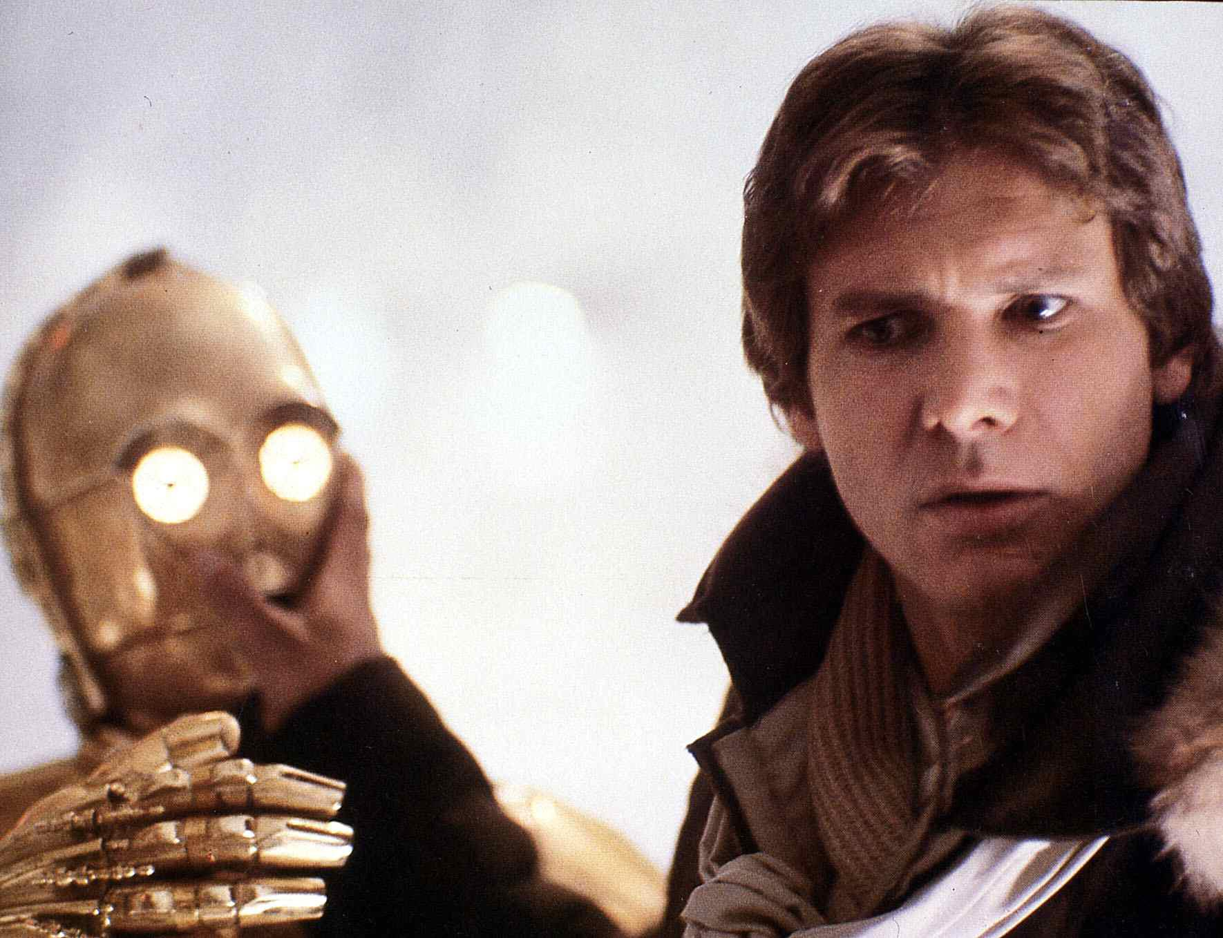 Han Solo and C-3PO in front of snow