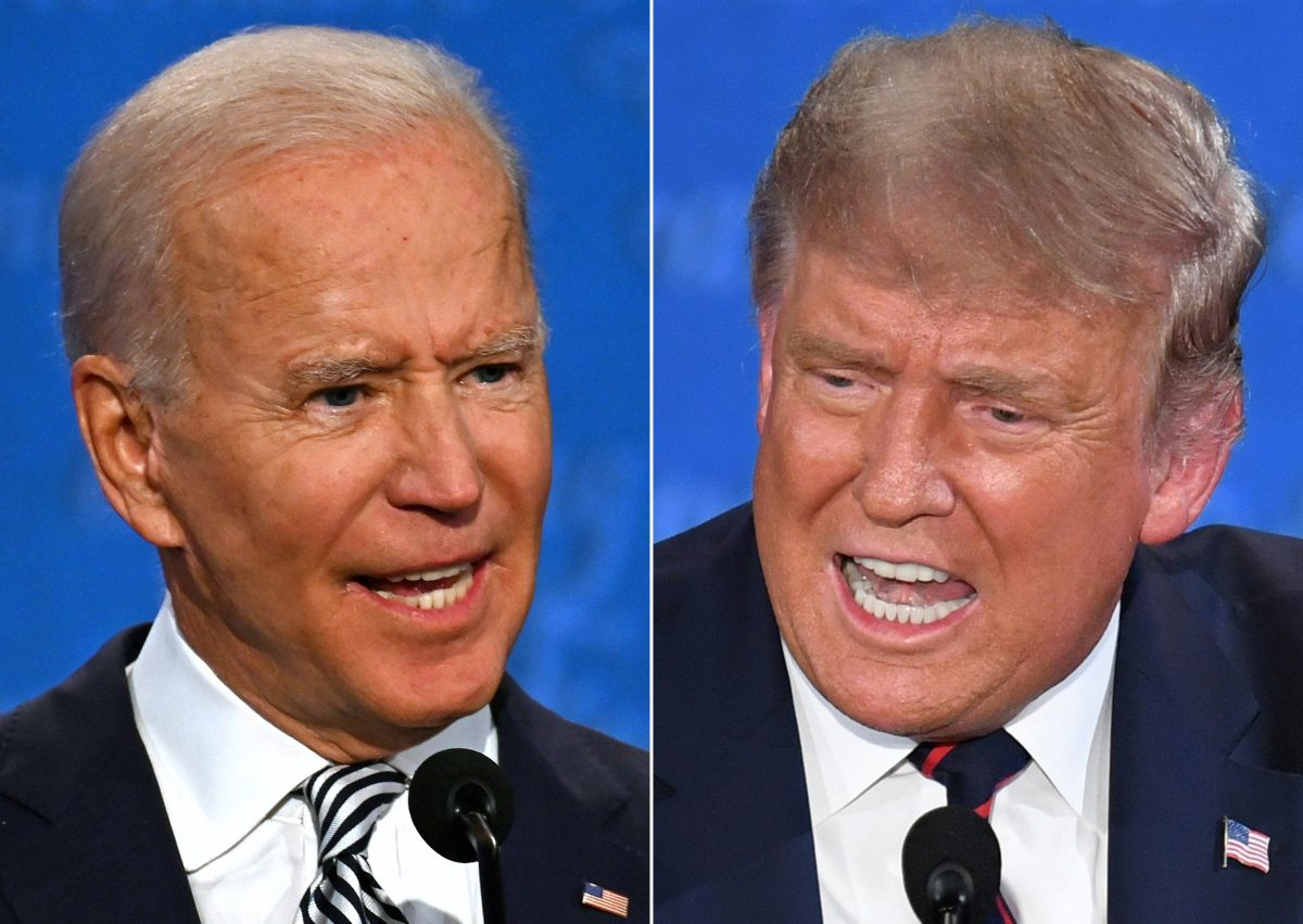 Composite image of Democratic Presidential candidate and former U.S. Vice President Joe Biden (L) and U.S. President Donald Trump speaking during the first presidential debate on September 29, 2020