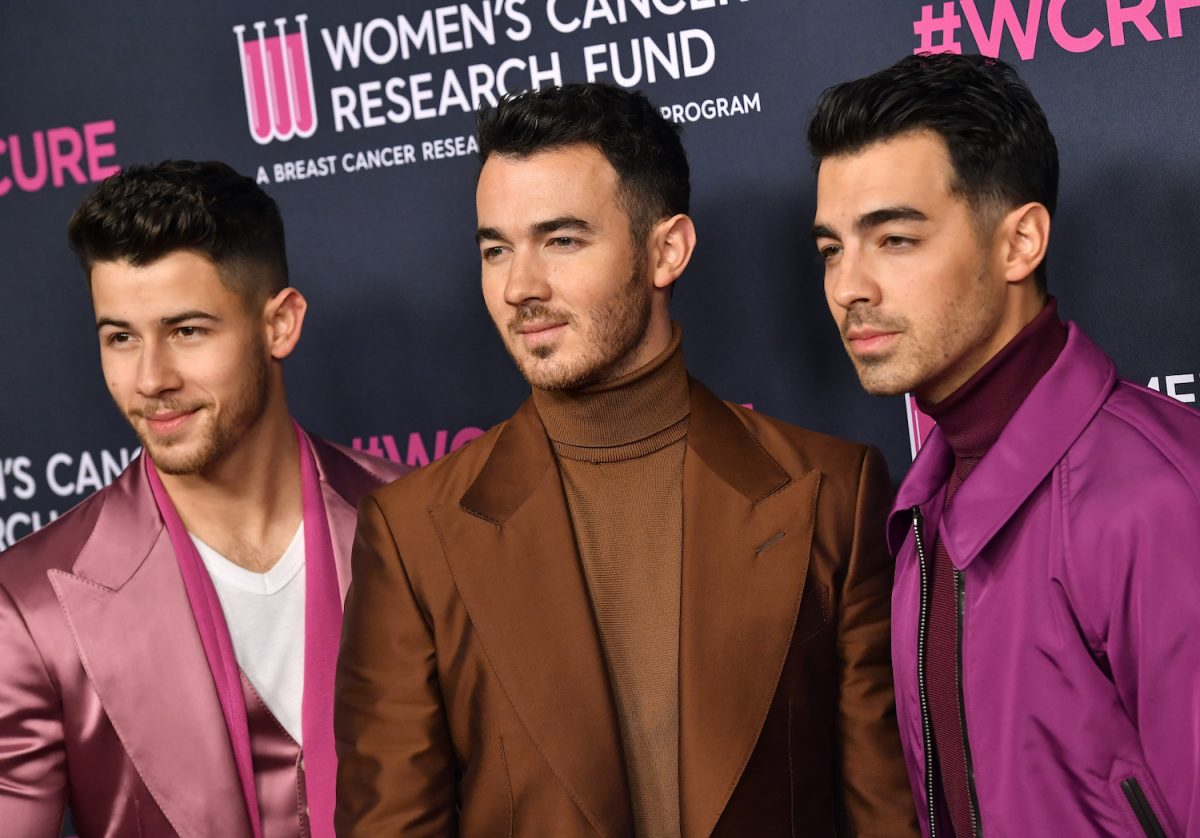 Nick Jonas, Kevin Jonas, and Joe Jonas of Jonas Brothers attend The Women's Cancer Research Fund's An Unforgettable Evening 2020